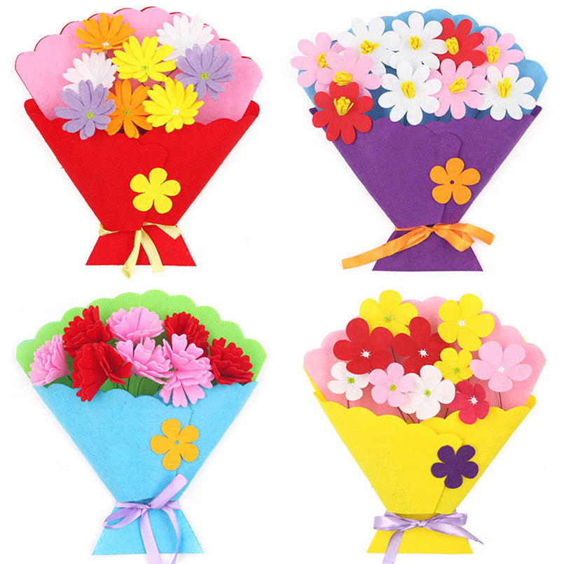 4Pcs Kids Non-woven DIY Simulation Bouquet Holding Flowers Handmade Gift Room Decoration Flower Craft Kits Creative Child Toys