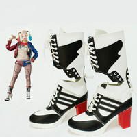 Halloween clown props Batman joker suicide squad harley quinn shoes cosplay adults woman boots ladies girls high heeled shoes