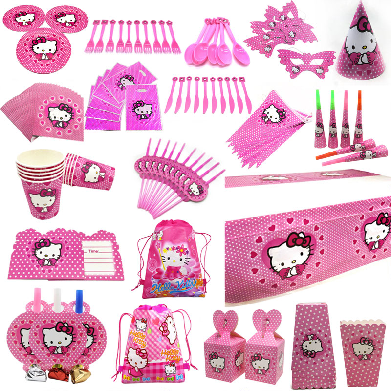 Hello Kitty <font><b>Princess</b></font> Tablecloth Kid Girls Favor Birthday Pack Event <font><b>Party</b></font> Cup Plate Mask Baby Shower Disposable Tableware Sets image