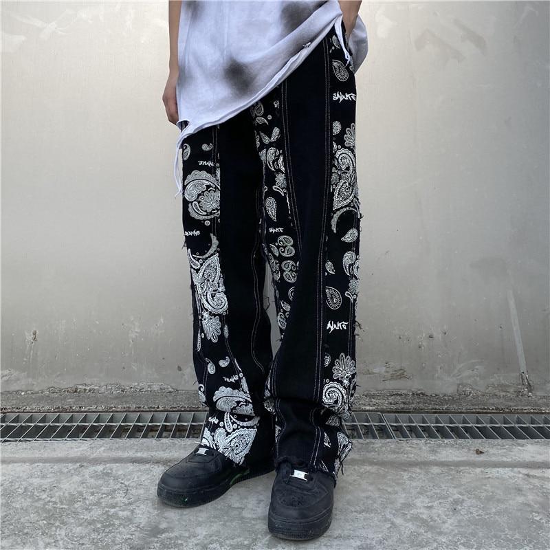 Men Vintage Pattern Print Straight Jeans Trousers Male Ragged Design Streetwear Hip Hop Denim Pants