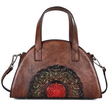 Real Cowhide Shoulder Crossbody Bags Tote Shell Bag Female Chinese Style Retro Messenger Genuine Leather Embossed Women Handbag