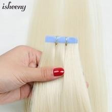 Hair-Extensions Adhesive-Tape Human-Hair Isheeny Skin-Weft Blonde Remy European Platinum