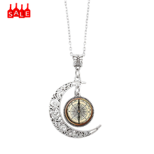 Steampunk Compass Necklace New Style Choker Pendant Necklace Vintage Compass Moon Glass Art Jewelry Accessories Necklaces #ZA(China)
