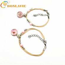 Simple Personality Cherry Student Jewelry Glass Dried Flower Plant Bracelet Anti-fatigue Heart-shaped Ladies Bracelet luyun female personality jewelry glass bracelet snowdrop flower lucky bracelet wholesale