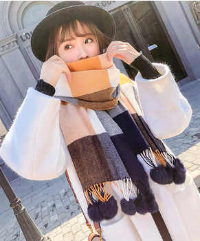 2020 New Rabbit Fur Pompom Stole Pashmina Cashmere Shawl Plaid Wool Scarf For Women Soft Warm Female Poncho Fashion Lady Scarves