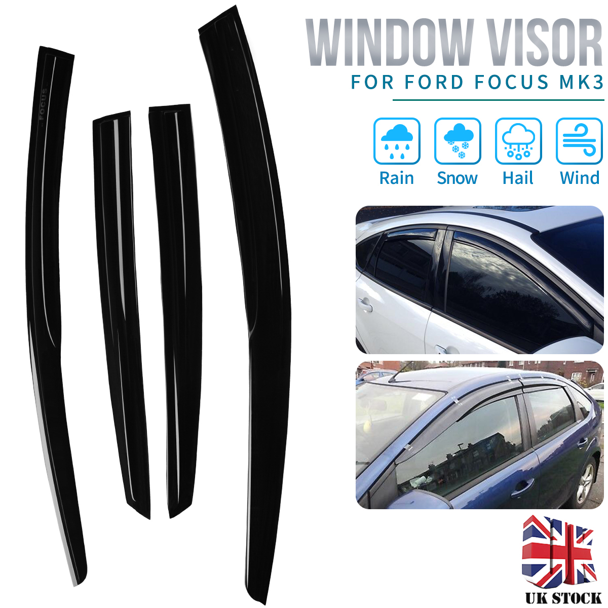4pcs Car Window Visor Rain Guard For Ford Focus Mk3 2012-2018 Window Deflector Sun Visor Auto Rain Shade Shelter