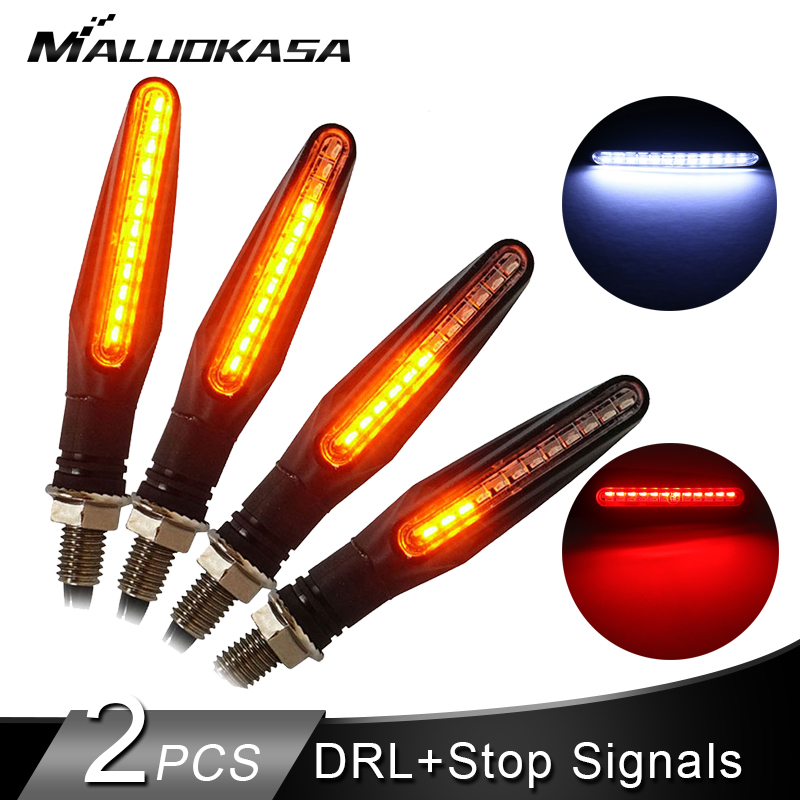 Motorcycle Turn Signals Light 12*335SMD Tail Flasher LED Flowing Water DRL Blinker IP68 Bendable Stop Signals Flashing Lights
