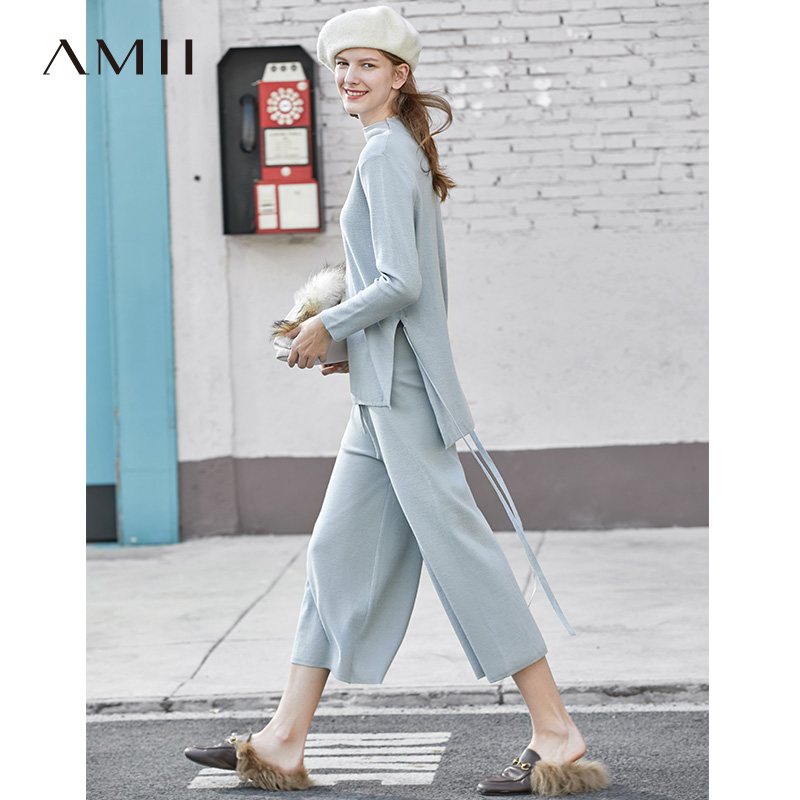 Amii Minimalism Causal Knit Set Women Solid Oneck Loose Sweater Elasticated Waist Loose Pant 11930389