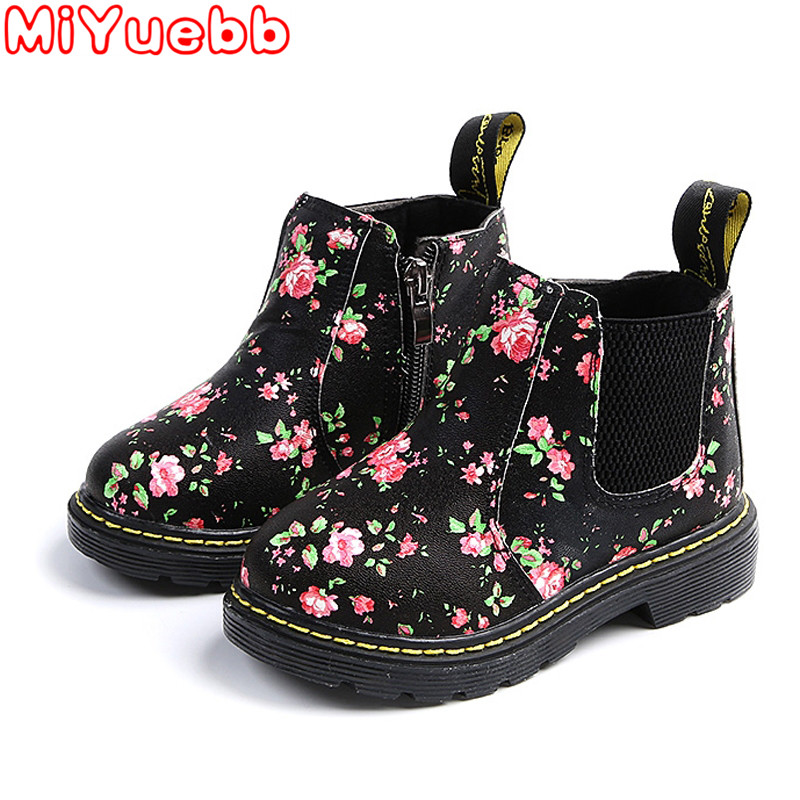 Ankle Boots Kids PU Leather Plush Floral Zipper Children Boots Waterproof Causal Fashion Girls Boys Boots Shoes 2020 New Sneaker
