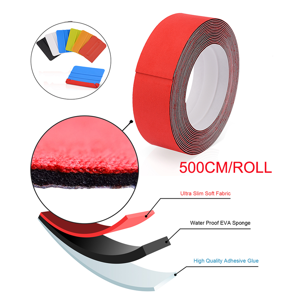 FOSHIO 500CM Waterproof 3 Layers Felt Cloth Car Tools Carbon Fiber Vinyl Film Wrap Squeegee Felt Window Tint Scraper Fabric Edge