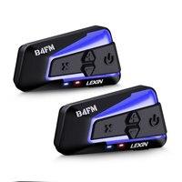Lexin 2PCS B4FM PRO Bluetooth 5,0 Motorrad Helm Intercom Headsets Typ-C,10 fahrer Drahtlose Kommunikation Music Sharing Moto