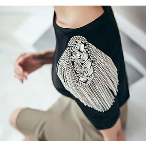 Image 1 - Fashion Handmade Shoulder Jewelry Tassel Rhinestones Epaulettes Clothing Accessories Brooch Epaulet Shoulder Brooches