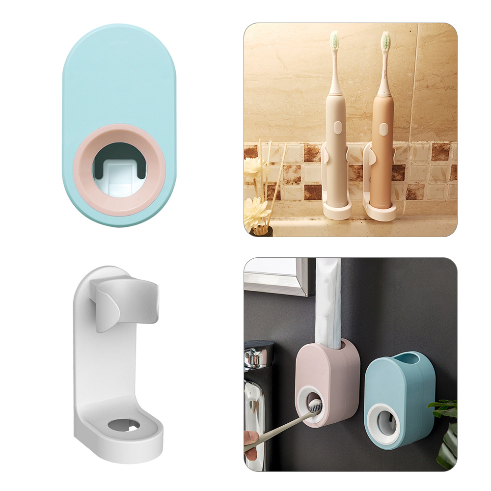Traceless Stand Rack Toothpaste&Toothbrush Organizer Electric Toothbrush Wall-Mounted Holder Toothpaste Squeezer Bathroom Tools