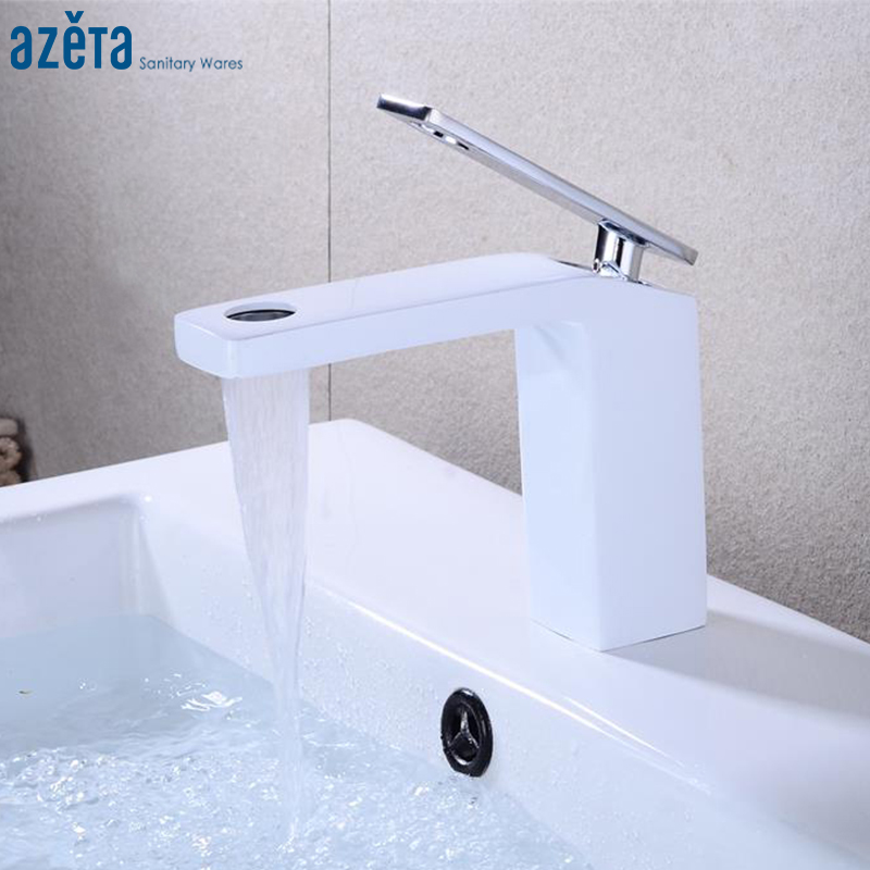 Azeta Basin Faucet Bathroom Waterfall Washbasin Mixer Tap White Single Handle Basin Sink Faucet Hot And Cold Water Tap AT7206W