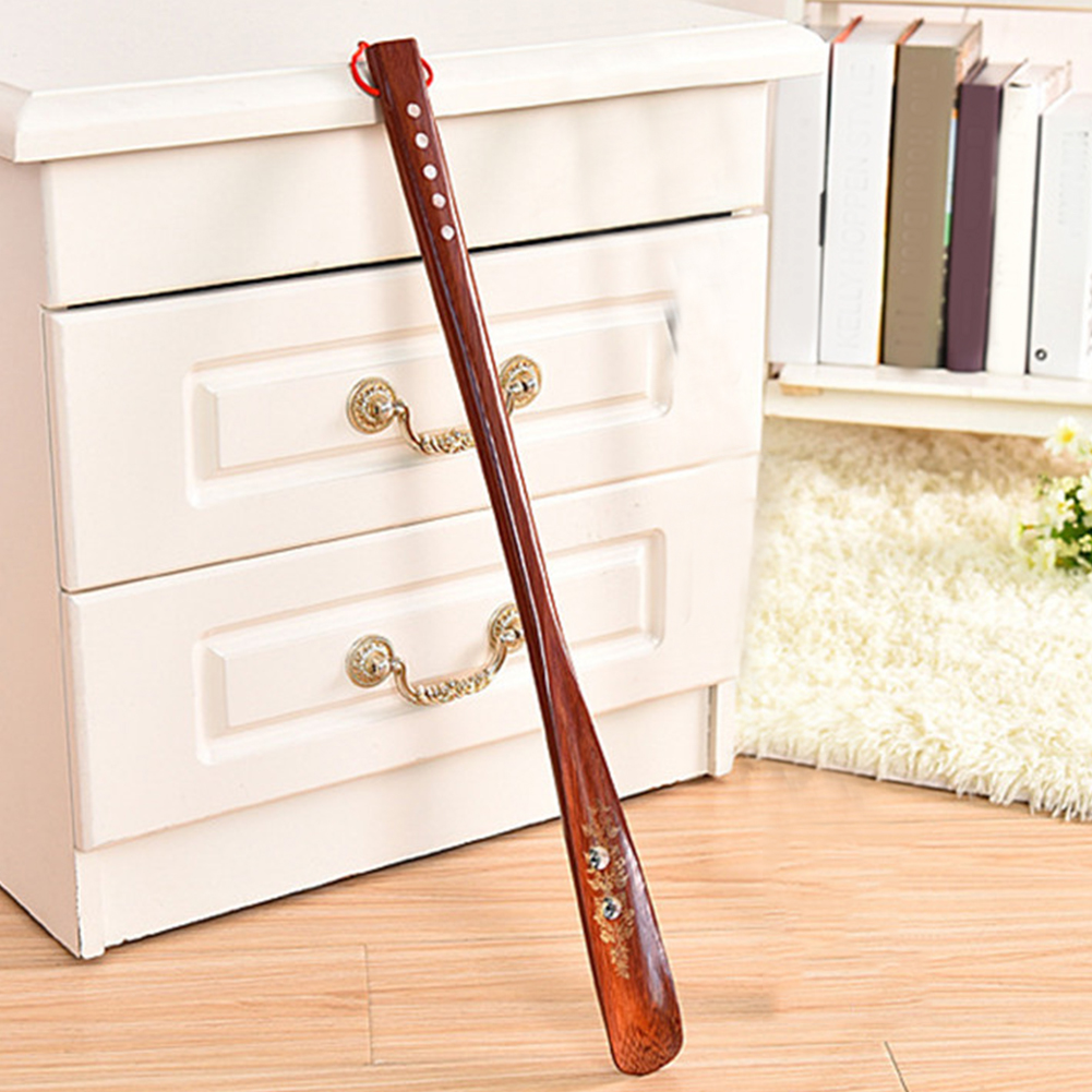 Practical Stick Durable 55cm Home Portable Hanging Loop Wooden Shoe Horn Useful Long Handle Lifter Red Flexible
