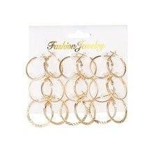 Yobest 2020 nuevo Simple 9 par/set de moda Metal Vintage pequeño círculo pendientes Color oro Punk partido pendiente joyería