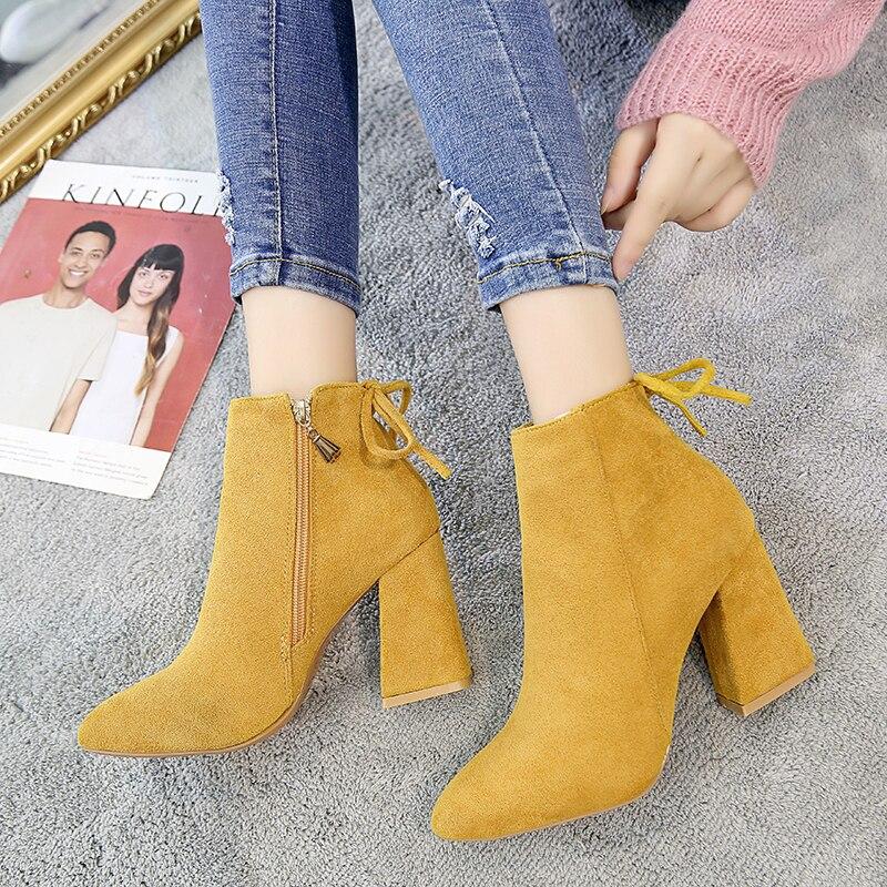Side Zipper Block Heel Ankle Boots
