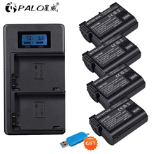 PALO 4pcs 2500mAh EN-EL15  EN EL15 ENEL15 7V battery case + USB LCD Charger for Nikon DSLR D500 D600 D610 D800 D800E D810 D7000 2x decoded en el15 bateria enel15 en el15 camera battery for nikon d500 d600 d610 d750 d7000 d7100 d7200 d800 d850 d810 d810a