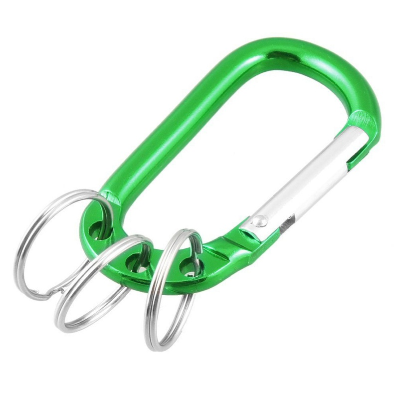 TOP!-Hiking Camping Spring Loaded D Shaped Carabiner Hook Pouch Holder Keyring Green