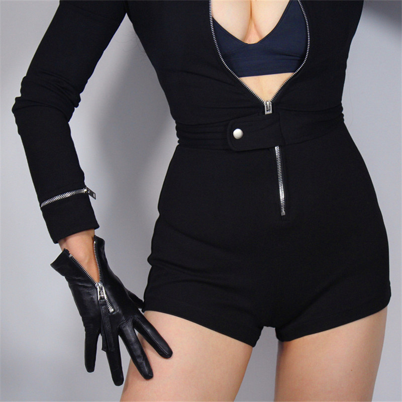 Touch Screen Genuine Leather Gloves 21cm Short Section Pure Imported Goatskin Bright Black Female Touch Silver Zipper WZP10