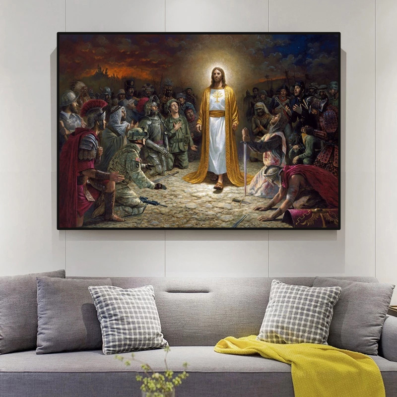 Jesus saves the world. Printable art prints and posters on canvas for home living room decoration. Frameless painting