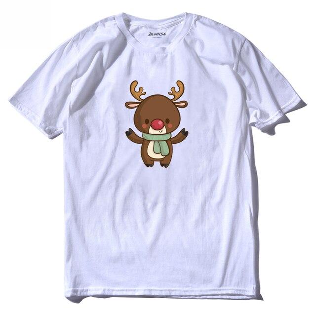 Blwhsh dos desenhos animados elk imprimir t camisa masculina moda de manga curta verão legal camiseta natal impresso mais camisetas roupas marca