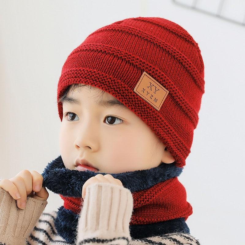 Kids Children's Winter Warm Knit Hat Scarf Set Skullies Beanies Cap Boy Girl Cotton Velvet Warm Knitting Hats Scarves Set
