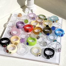 2021 nueva moda resina acrílico colorido anillos para las mujeres Diamante de imitación transparente cuadrado geométrico anillos redondo hembra joyería regalos