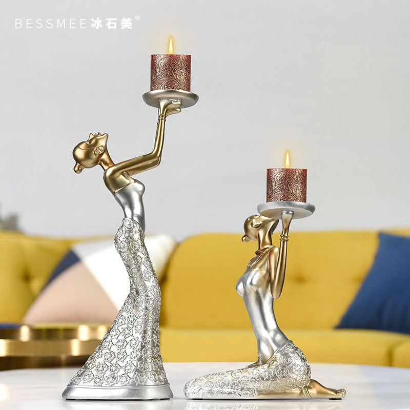 European Retro Candle Holders Dining Table Wine Cabinet Decoration Romantic Candlelight Dinner Christmas Decorations BB50ZT - 4
