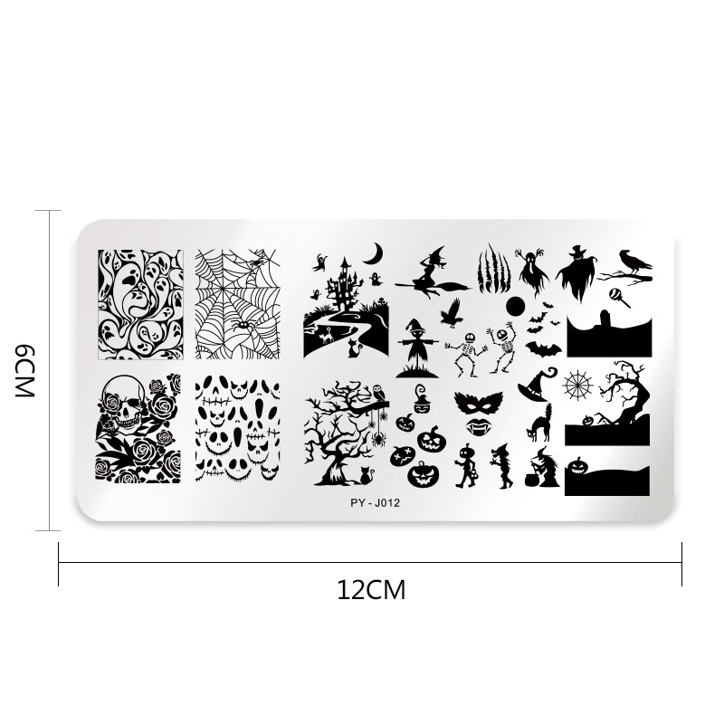 Image 5 - 1Pc PICT YOU Halloween Series Stamping Plates Nail Art Stamping Image pattern Plate Stainless Steel Stencil Accessories Tools-in Nail Art Templates from Beauty & Health