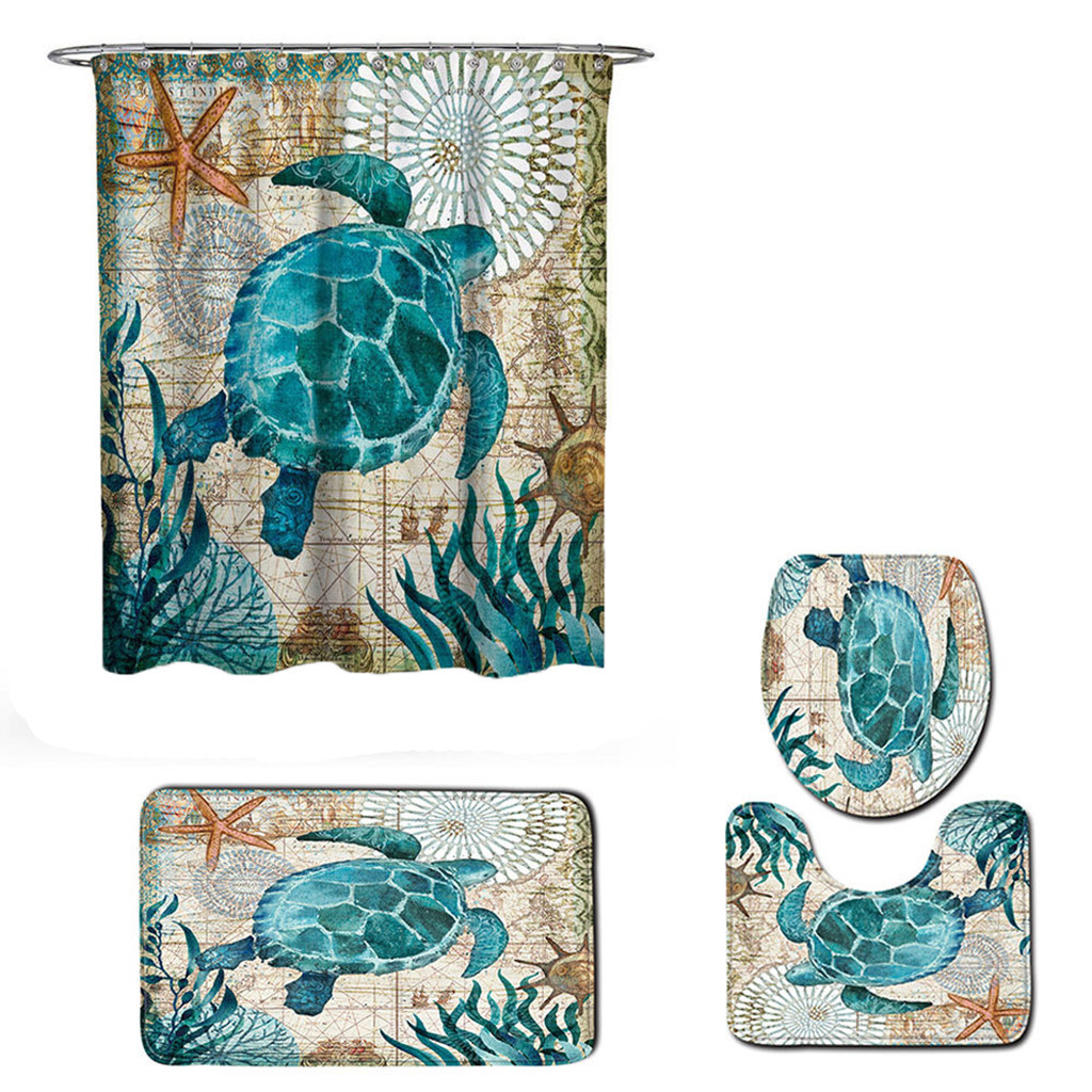4 pcs/set Sea World Views Bathroom Carpet Mat Set absorption Shower Bath Curtain Toilet WC Rugs Shower Room Accessories