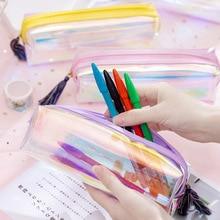 цена на Large capacity laser tassel pencil bag small fresh creative student pencil bag stationery bag cylinder