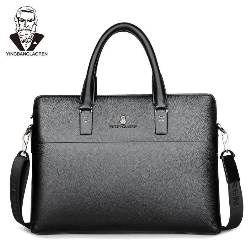 Men Head Layer Cowhide Briefcase Business Travel Bag  Male Computer Laptop Handbag Casual Shoulder Cross Body Bag  Messenger Bag