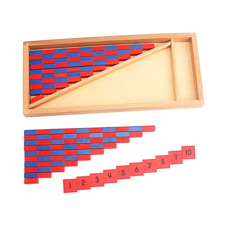 Small Numerical Number Red Blue Rods Wooden Montessori Mathematics Material