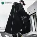 Mode Gothic Lange Trenchcoat Mannen Hip Hop Hooded Windjack Jassen Zwart Streetwear Swag Overjassen Mannelijke Casual Streetwear