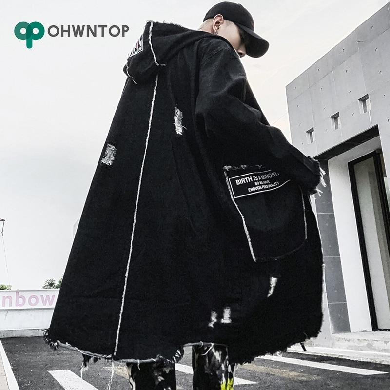 Mode gothique longue Trench manteau hommes Hip Hop à capuche coupe vent vestes noir Streetwear Swag pardessus mâle décontracté Streetwear