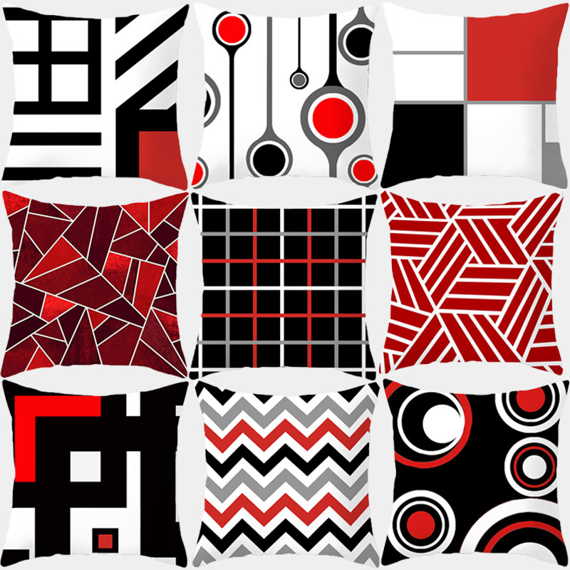 Pillow Case Red Geometric Cushion Cover Polyester Decorative Throw Pillow Fashion Plaid Striped Sofa Pillow Home Decor 10069