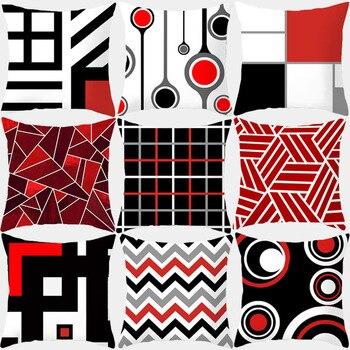 цена на Pillow Case Red Geometric Cushion Cover Polyester Decorative Throw Pillow Fashion Plaid Striped Sofa Pillow Home Decor 10069