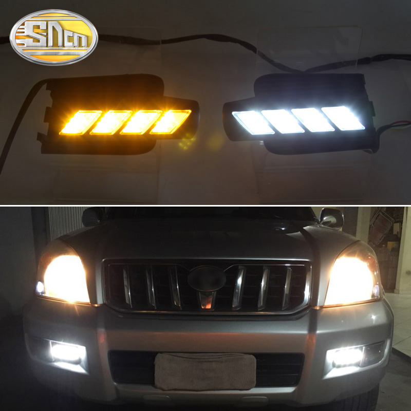 SNCN LED النهار تشغيل كشاف لسيارة تويوتا برادو 120 FJ120 2003-2009 اكسسوارات السيارات مقاوم للماء ABS 12 فولت DRL الضباب مصباح الديكور