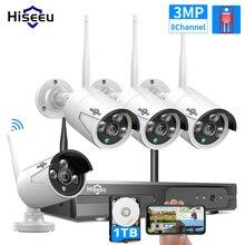 WIFI cámara de bala IP 3MP 1536P 8CH NVR CCTV inalámbrico Kit de sistema de seguridad de infrarrojos 4 Uds Cam visión remota 1T HDD