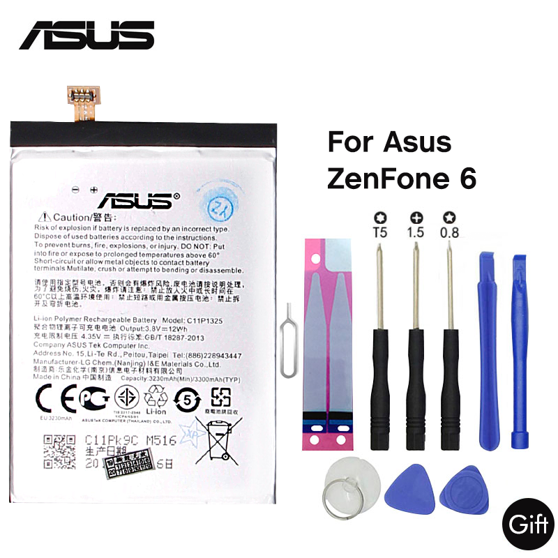 <font><b>ASUS</b></font> Original Replacement Phone Battery C11P1325 3330mAh For <font><b>ASUS</b></font> ZenFone 6 A600CG <font><b>T00G</b></font> A601CG Free Tools image