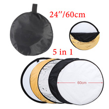 24 #8243 60cm reflector 5 in 1 Collapsible Light Round Photography White Silivery Reflector for Studio Multi Photo Disc Diffuers cheap camllite CL-RT50 200g