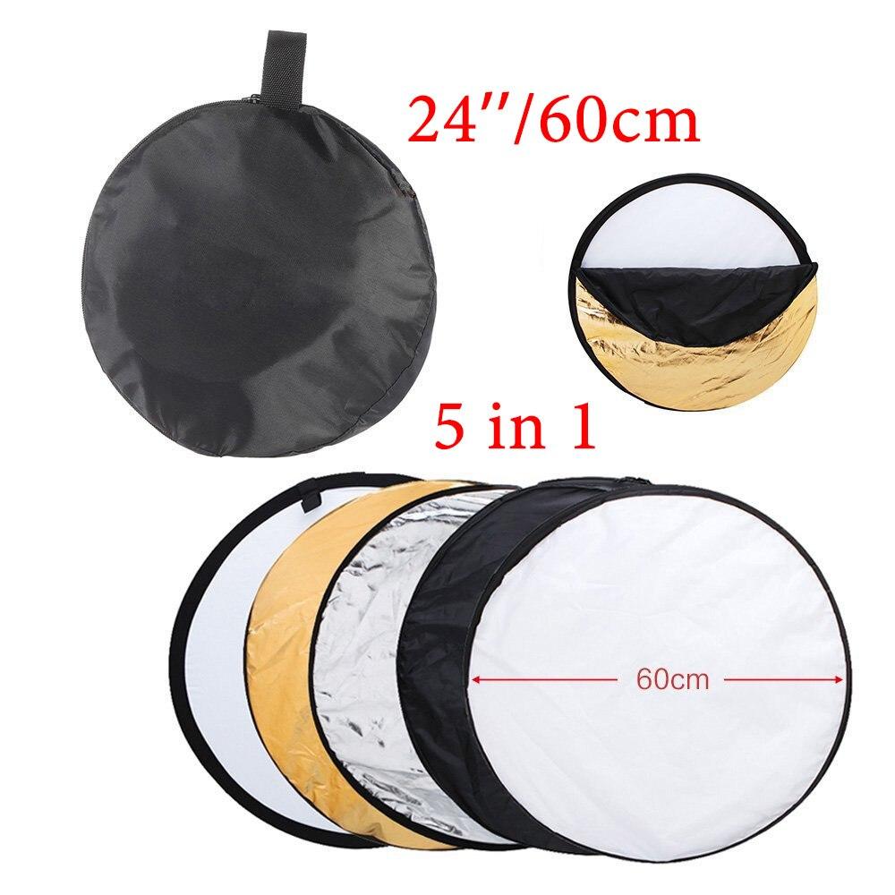 Складной отражатель для фотостудии 5 в 1, круглый светоотражатель 24 дюйма, 60 см, серебряная/белая поверхность, для рассеивания света
