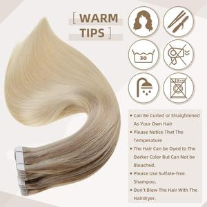 Image 4 - Full Shine Tape in Hair Extensions Balayage Color 100% Human Tape On Hair Extensions 50g 20 Pcs machine made remy