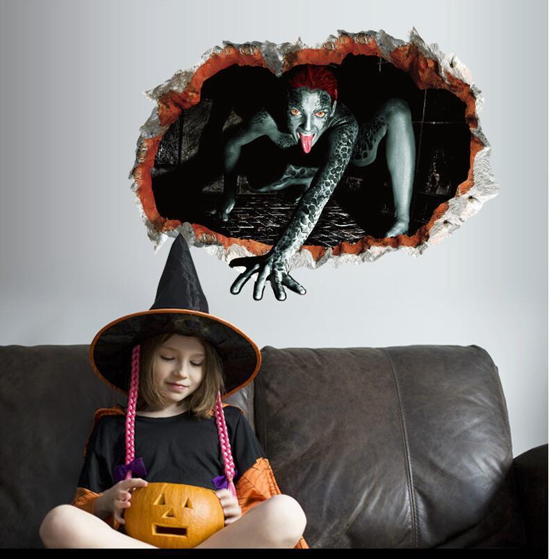 1 Pcs Halloween Ghost Sticker DecorationHalloween Wall Creative Stereo 3D Broken Zombie