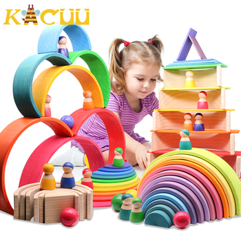 Montessori Wooden Building Blocks Childhood Learning Toy Early Children Baby Rainbow Wooden Blocks Educational Building Toy Gift montessori colorful wood cube blocks blocks baby recognition intelligence early learning educational toy bricks wooden children