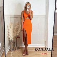 Za sexy vestido de festa magro feminino chique laranja elegante 2021 frente oco para fora midi vestido lateral split strap vestido de malha
