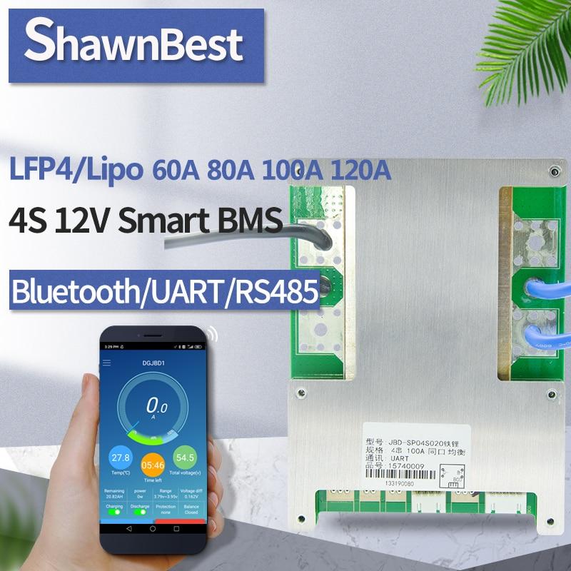 Inteligentny 4S BMS 12V 60A 80A 100A 120A LiFePO4 oprogramowanie APP Bluetooth ochrona temperatury bateria lipo opakowanie rozładowanie pcm