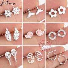 Boucles d'oreilles en argent Sterling 100% pour femmes et filles, bijoux tendance, visage en plume, fleur, oiseau, cadeau, 925