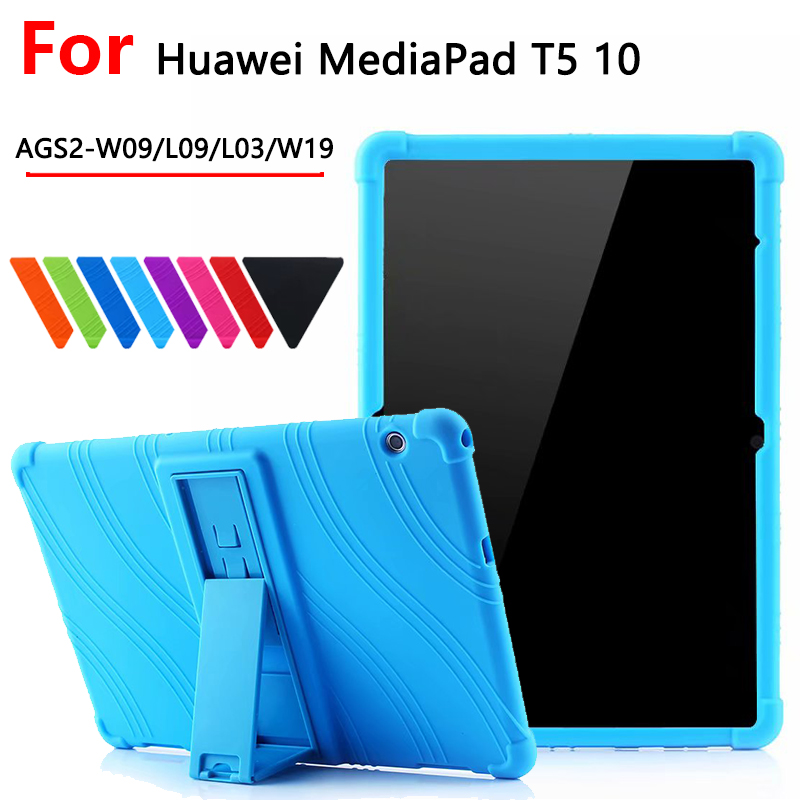 "Shockproof Silicon Case For Huawei MediaPad T5 AGS2-W09/L09/L03/W19 10.1""Tablet Stand Cover For Huawei Mediapad T5 10 Funda Case"
